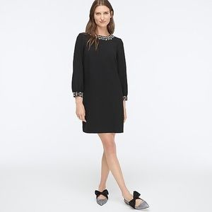 Jcrew jewel embellished long sleeved shift dress